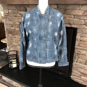 Free People Women's Distressed Jean Jacket